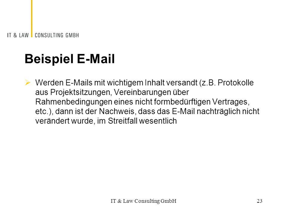 Beispiel E-Mail  Werden E-Mails mit wichtigem Inhalt versandt (z.B. Protokolle aus Projektsitzungen, Vereinbarungen über Rahmenbedingungen eines nich