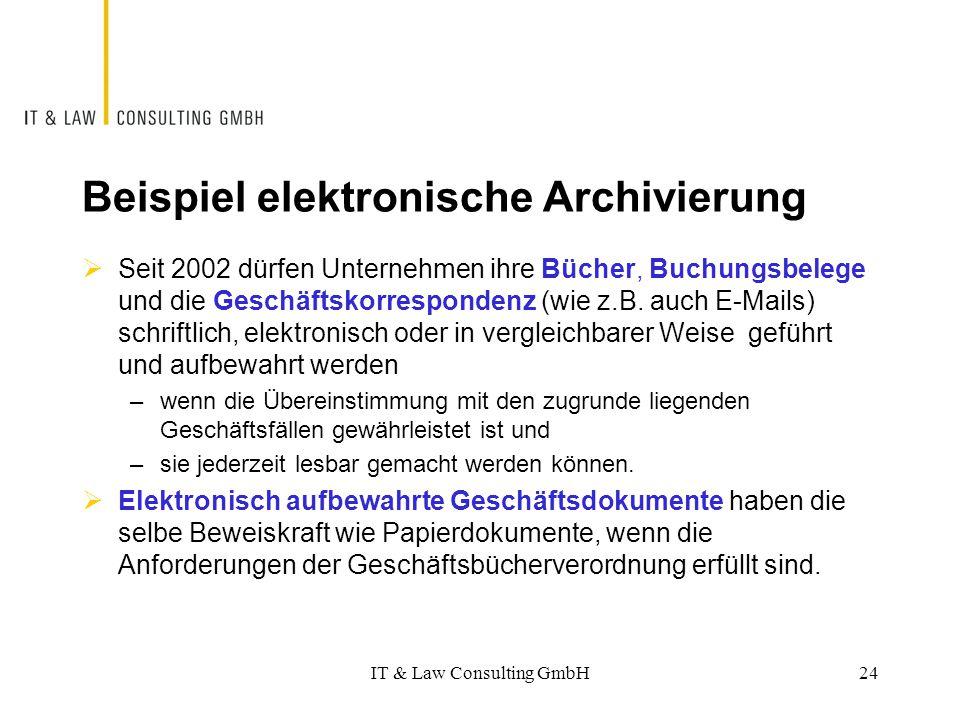Beispiel elektronische Archivierung  Seit 2002 dürfen Unternehmen ihre Bücher, Buchungsbelege und die Geschäftskorrespondenz (wie z.B. auch E-Mails)