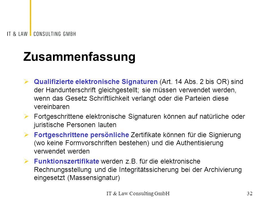 Zusammenfassung  Qualifizierte elektronische Signaturen (Art. 14 Abs. 2 bis OR) sind der Handunterschrift gleichgestellt; sie müssen verwendet werden