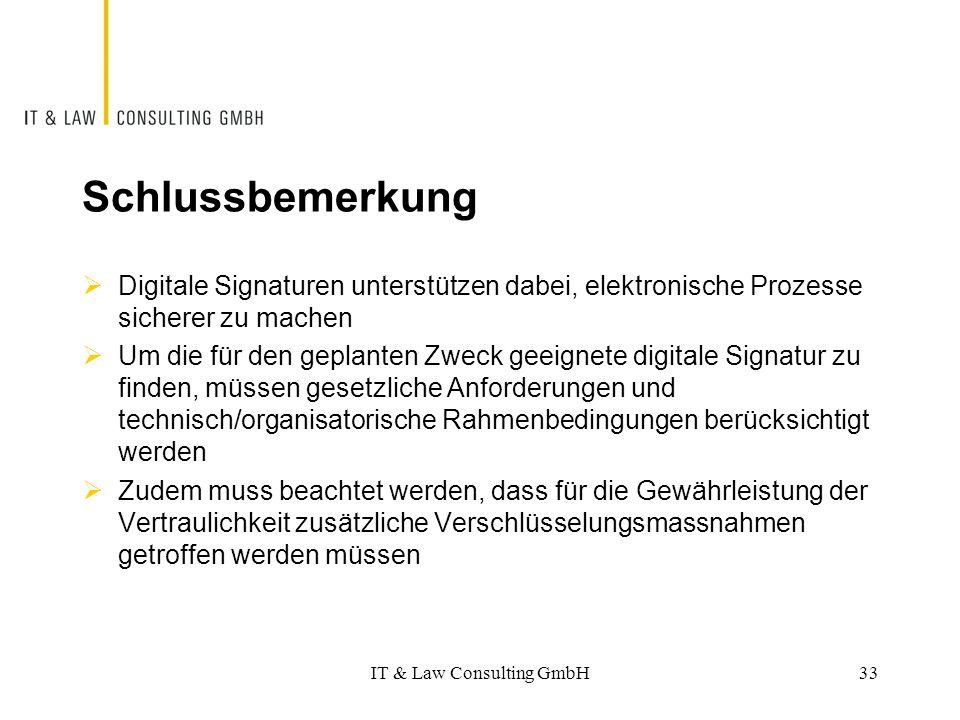 Schlussbemerkung  Digitale Signaturen unterstützen dabei, elektronische Prozesse sicherer zu machen  Um die für den geplanten Zweck geeignete digita