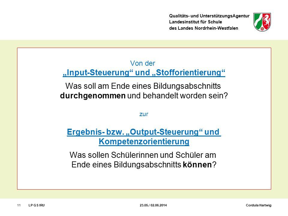 """Qualitäts- und UnterstützungsAgentur Landesinstitut für Schule des Landes Nordrhein-Westfalen 11LP GS IRU 23.05./ 02.06.2014 Cordula Hartwig Von der """""""