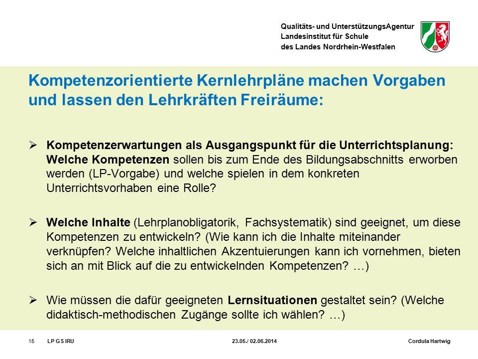 Qualitäts- und UnterstützungsAgentur Landesinstitut für Schule des Landes Nordrhein-Westfalen Kompetenzorientierte Kernlehrpläne machen Vorgaben und l