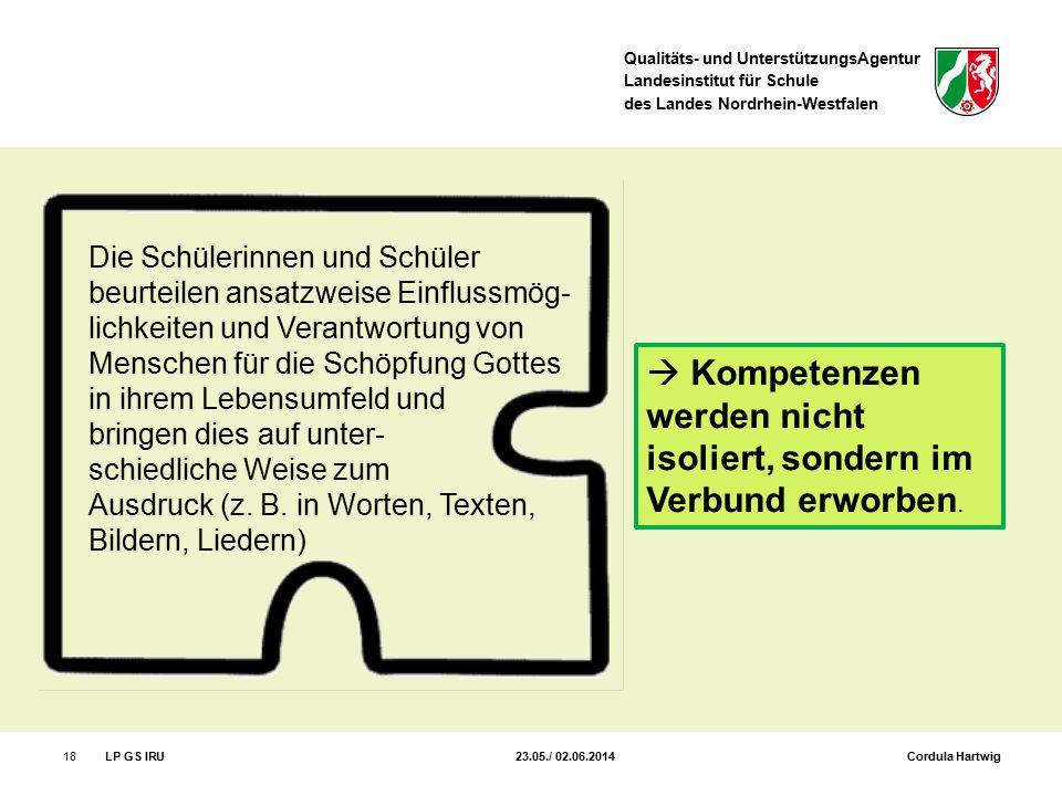 Qualitäts- und UnterstützungsAgentur Landesinstitut für Schule des Landes Nordrhein-Westfalen 18LP GS IRU 23.05./ 02.06.2014 Cordula Hartwig Die Schül