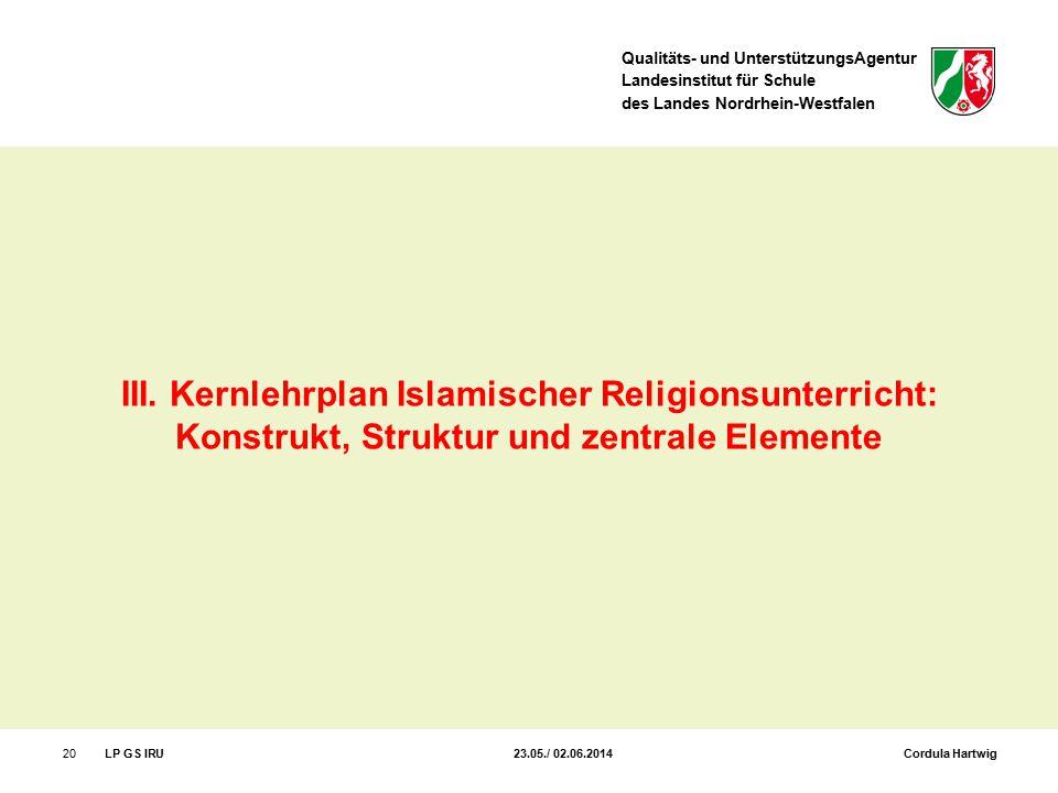 Qualitäts- und UnterstützungsAgentur Landesinstitut für Schule des Landes Nordrhein-Westfalen 20LP GS IRU 23.05./ 02.06.2014 Cordula Hartwig III. Kern