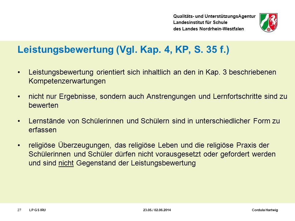 Qualitäts- und UnterstützungsAgentur Landesinstitut für Schule des Landes Nordrhein-Westfalen Leistungsbewertung (Vgl. Kap. 4, KP, S. 35 f.) Leistungs