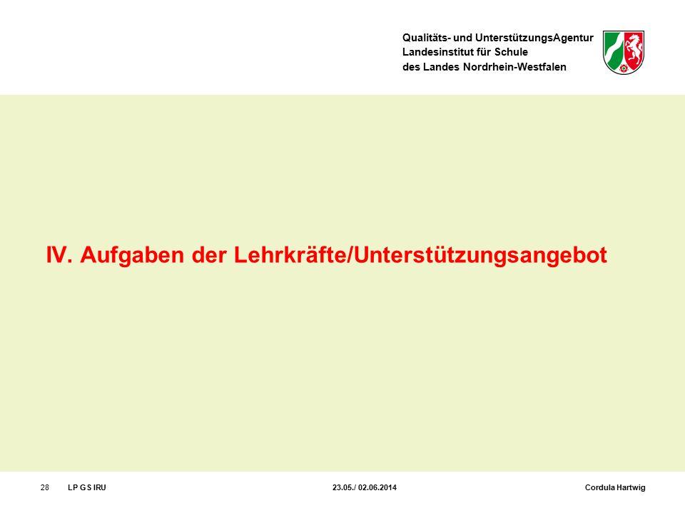 Qualitäts- und UnterstützungsAgentur Landesinstitut für Schule des Landes Nordrhein-Westfalen 28LP GS IRU 23.05./ 02.06.2014 Cordula Hartwig IV. Aufga