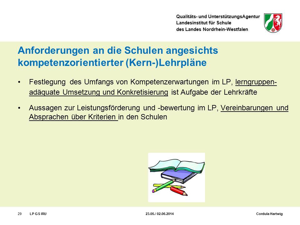 Qualitäts- und UnterstützungsAgentur Landesinstitut für Schule des Landes Nordrhein-Westfalen Anforderungen an die Schulen angesichts kompetenzorienti