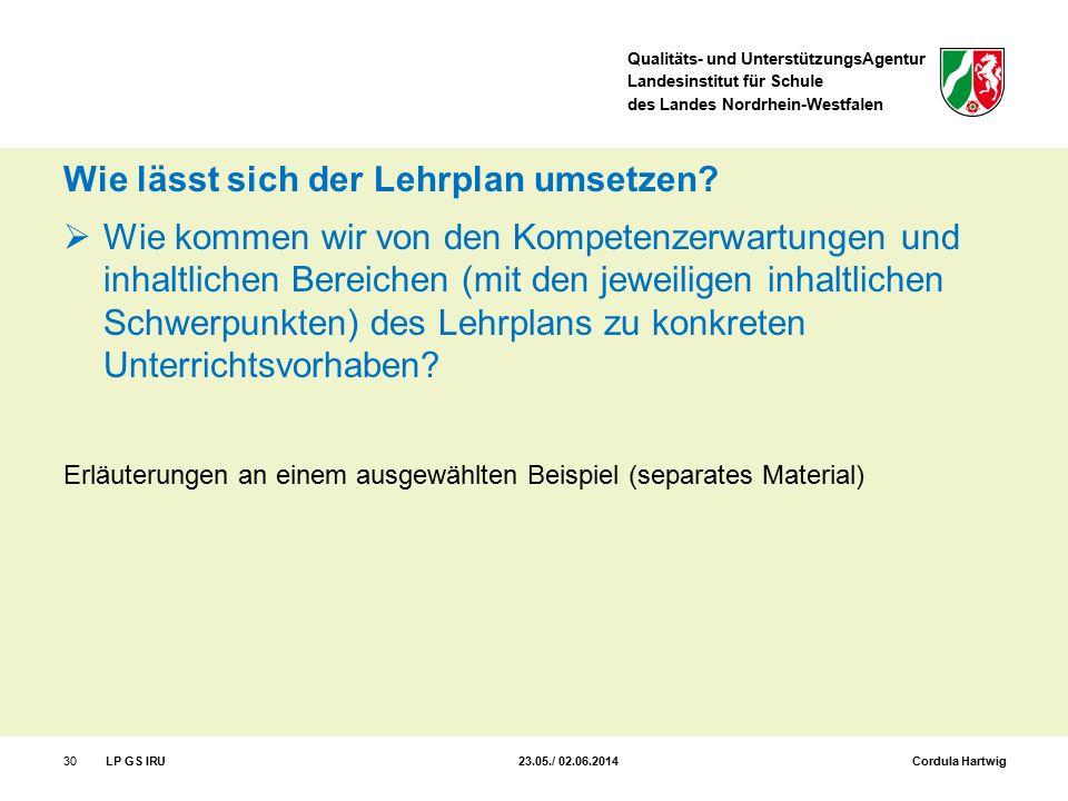 Qualitäts- und UnterstützungsAgentur Landesinstitut für Schule des Landes Nordrhein-Westfalen Wie lässt sich der Lehrplan umsetzen?  Wie kommen wir v