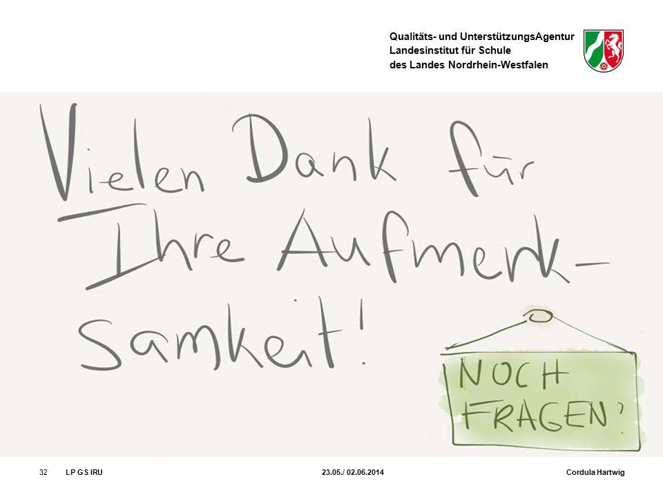 Qualitäts- und UnterstützungsAgentur Landesinstitut für Schule des Landes Nordrhein-Westfalen 32LP GS IRU 23.05./ 02.06.2014 Cordula Hartwig