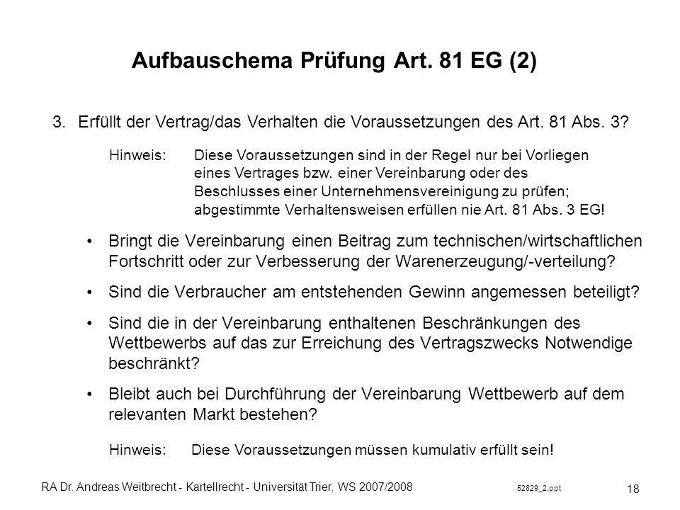 RA Dr. Andreas Weitbrecht - Kartellrecht - Universität Trier, WS 2007/2008 52829_2.ppt Aufbauschema Prüfung Art. 81 EG (2) Bringt die Vereinbarung ein