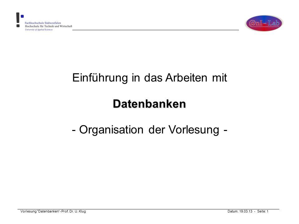Vorlesung Datenbanken - Prof.Dr. U.