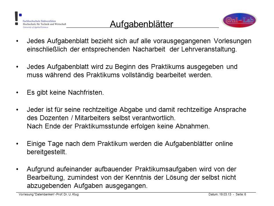 Vorlesung Datenbanken - Prof. Dr. U.
