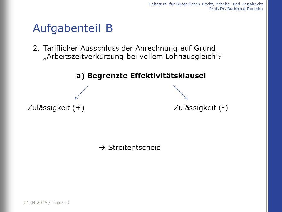 """01.04.2015 / Folie 16 2.Tariflicher Ausschluss der Anrechnung auf Grund """"Arbeitszeitverkürzung bei vollem Lohnausgleich ."""