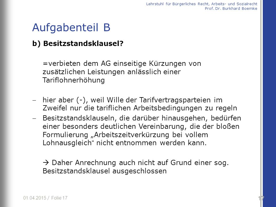 01.04.2015 / Folie 17 b) Besitzstandsklausel.