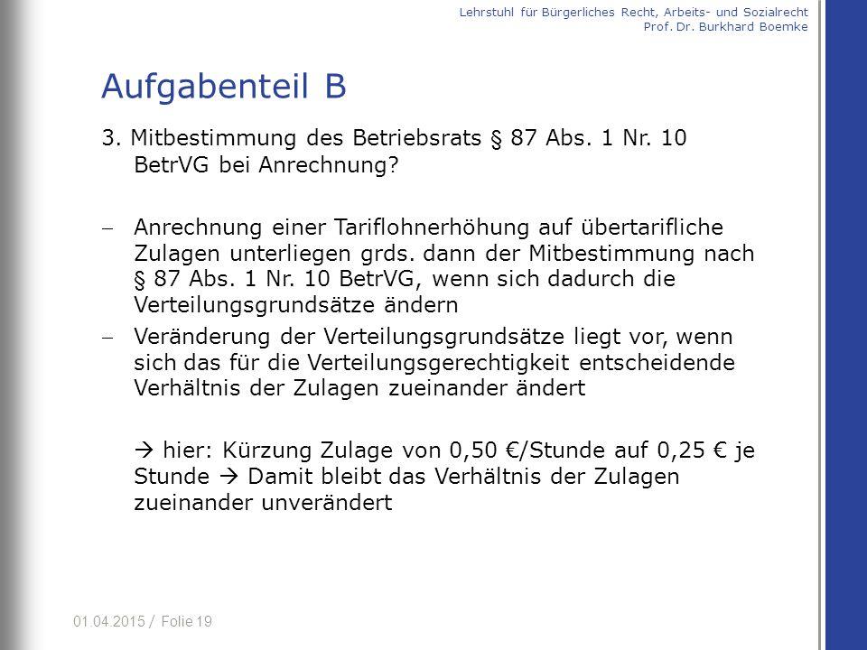 01.04.2015 / Folie 19 3. Mitbestimmung des Betriebsrats § 87 Abs.