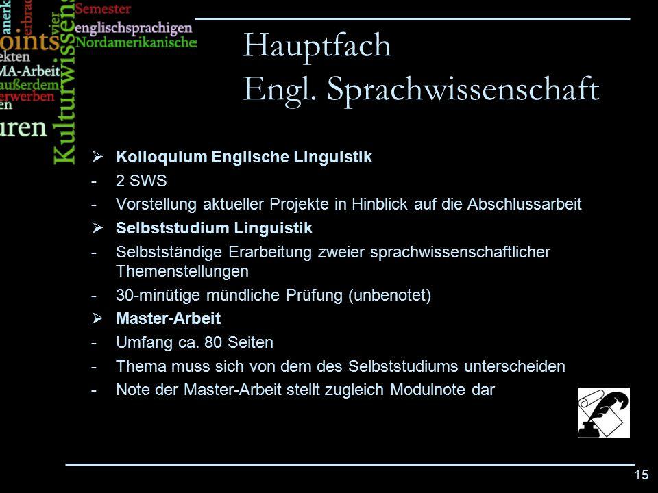 15  Kolloquium Englische Linguistik -2 SWS -Vorstellung aktueller Projekte in Hinblick auf die Abschlussarbeit  Selbststudium Linguistik -Selbststän