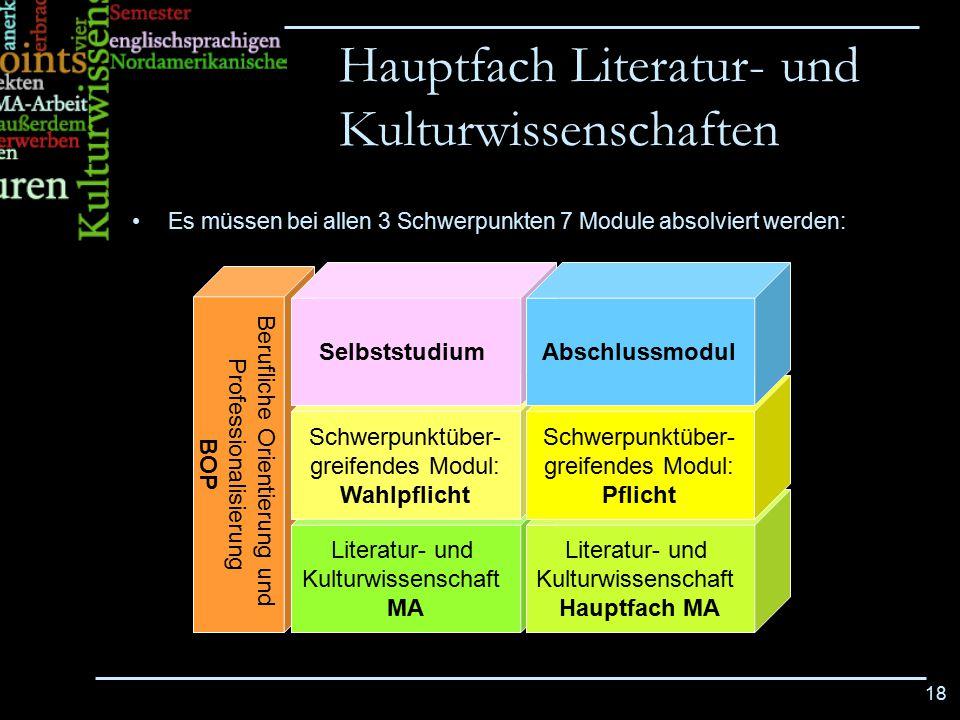 18 Es müssen bei allen 3 Schwerpunkten 7 Module absolviert werden: Hauptfach Literatur- und Kulturwissenschaften Berufliche Orientierung und Professio