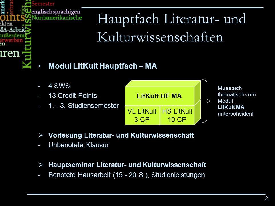21 Modul LitKult Hauptfach – MA -4 SWS -13 Credit Points -1. - 3. Studiensemester  Vorlesung Literatur- und Kulturwissenschaft -Unbenotete Klausur 