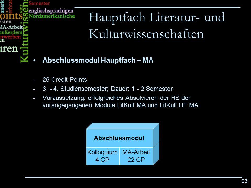 23 Abschlussmodul Hauptfach – MA -26 Credit Points -3. - 4. Studiensemester; Dauer: 1 - 2 Semester -Voraussetzung: erfolgreiches Absolvieren der HS de