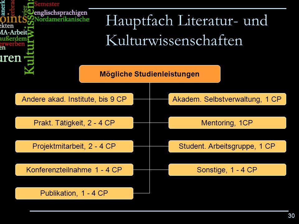 30 Mögliche Studienleistungen Andere akad. Institute, bis 9 CP Prakt. Tätigkeit, 2 - 4 CP Publikation, 1 - 4 CP Konferenzteilnahme 1 - 4 CP Projektmit