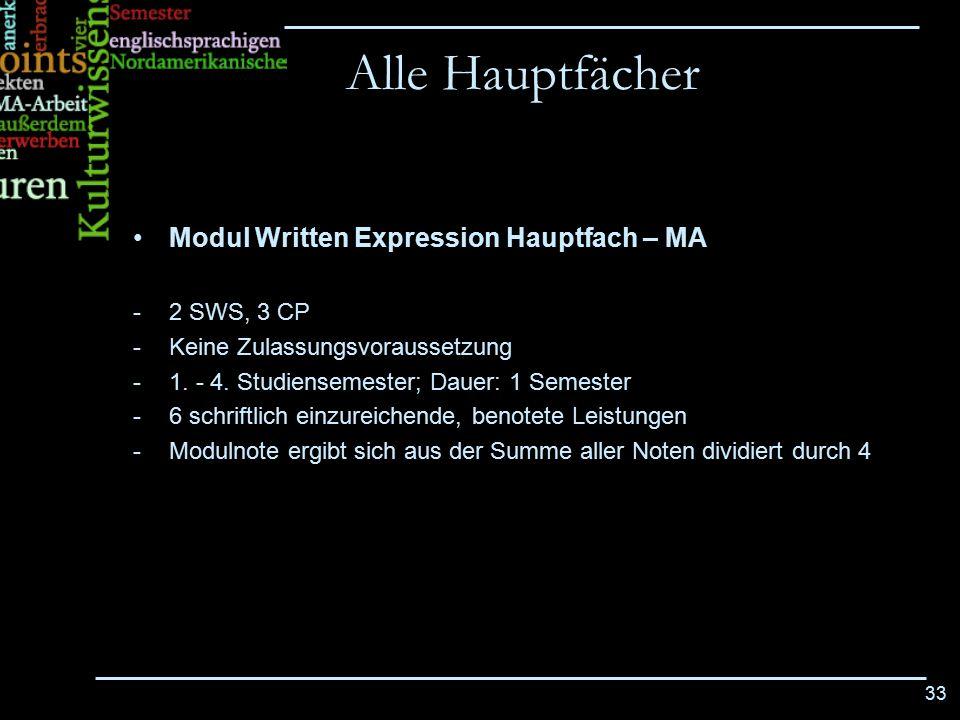 33 Modul Written Expression Hauptfach – MA -2 SWS, 3 CP -Keine Zulassungsvoraussetzung -1. - 4. Studiensemester; Dauer: 1 Semester -6 schriftlich einz