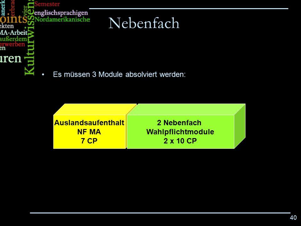 40 Es müssen 3 Module absolviert werden: Nebenfach Auslandsaufenthalt NF MA 7 CP 2 Nebenfach Wahlpflichtmodule 2 x 10 CP