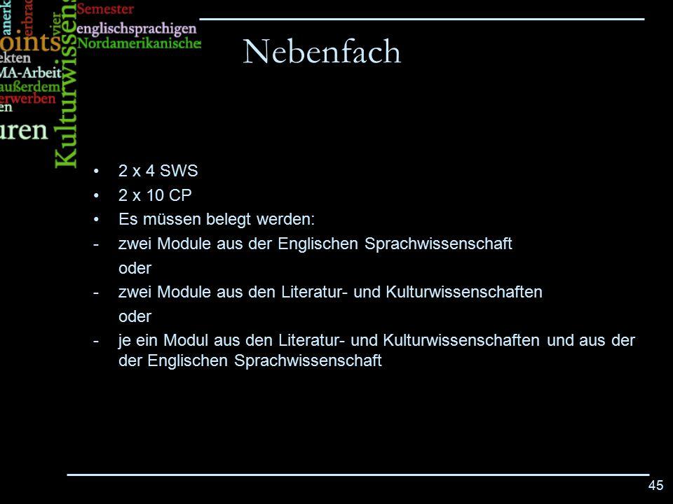 45 2 x 4 SWS 2 x 10 CP Es müssen belegt werden: -zwei Module aus der Englischen Sprachwissenschaft oder -zwei Module aus den Literatur- und Kulturwiss