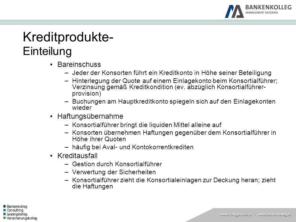 www.richtigerkurs. at www.richtigerkurs. at - www.bankenkolleg.at Kreditprodukte- Einteilung Bareinschuss –Jeder der Konsorten führt ein Kreditkonto i