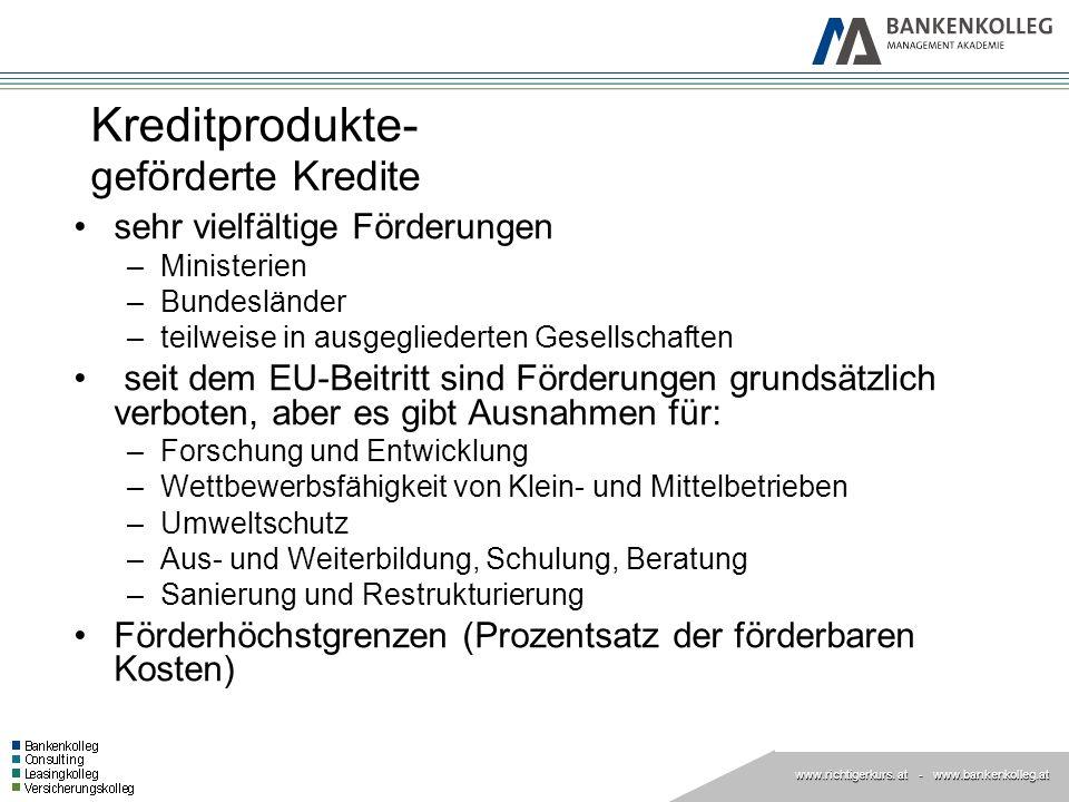 www.richtigerkurs. at www.richtigerkurs. at - www.bankenkolleg.at Kreditprodukte- geförderte Kredite sehr vielfältige Förderungen –Ministerien –Bundes