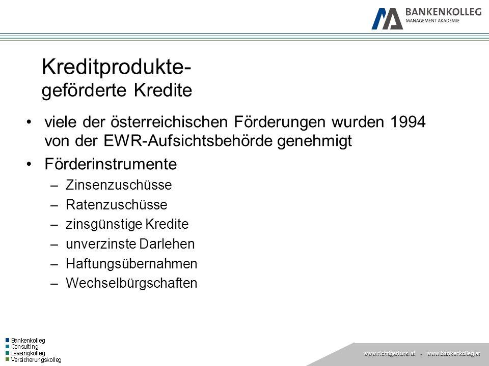 www.richtigerkurs. at www.richtigerkurs. at - www.bankenkolleg.at Kreditprodukte- geförderte Kredite viele der österreichischen Förderungen wurden 199