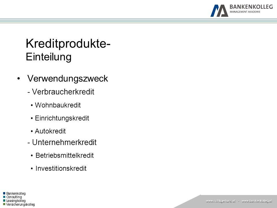 www.richtigerkurs. at www.richtigerkurs. at - www.bankenkolleg.at Kreditprodukte- Einteilung Verwendungszweck - Verbraucherkredit Wohnbaukredit Einric