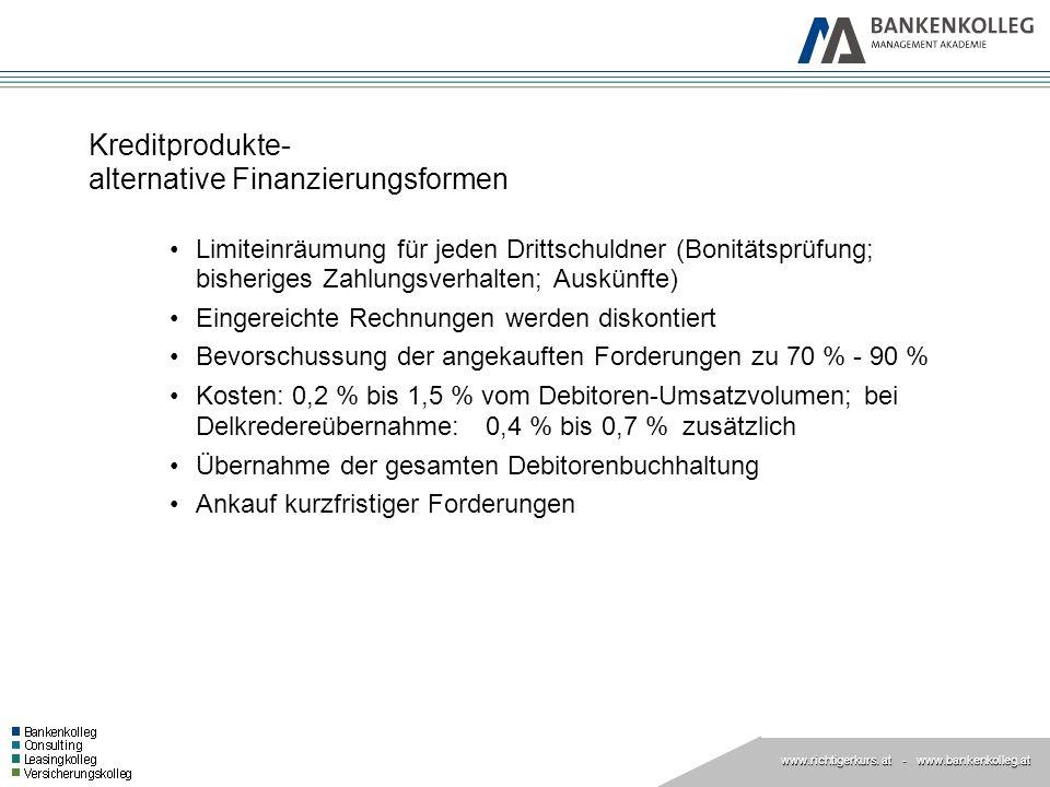 www.richtigerkurs. at www.richtigerkurs. at - www.bankenkolleg.at Kreditprodukte- alternative Finanzierungsformen Limiteinräumung für jeden Drittschul