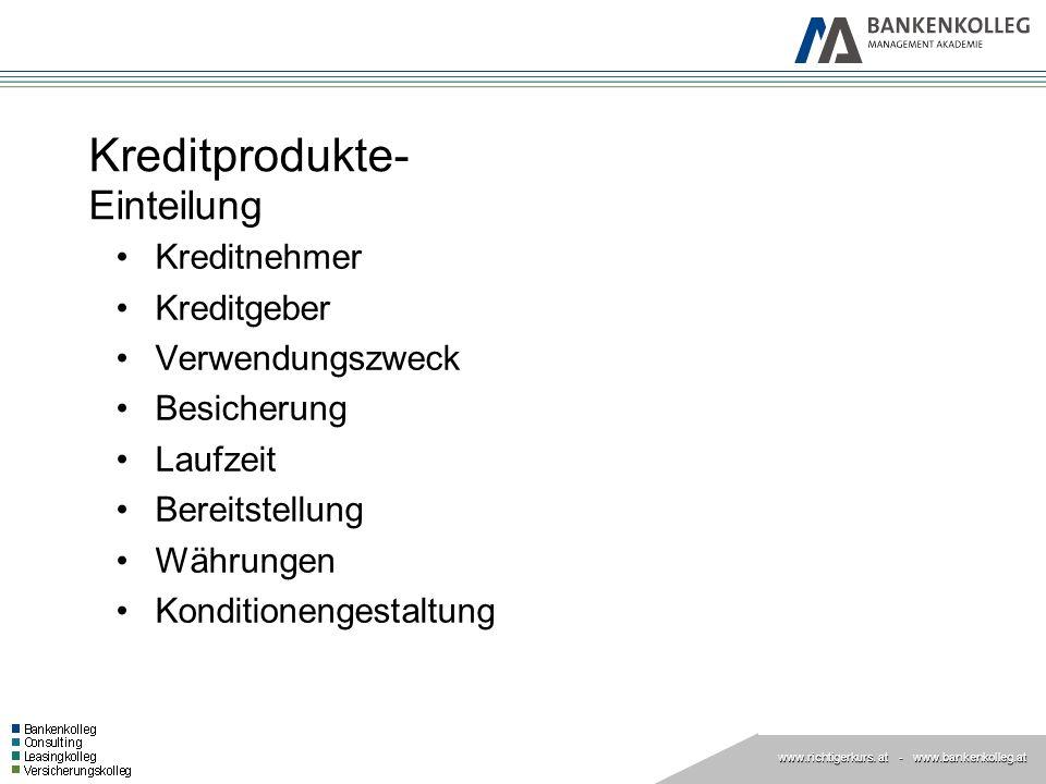 www.richtigerkurs. at www.richtigerkurs. at - www.bankenkolleg.at Kreditprodukte- Einteilung Kreditnehmer Kreditgeber Verwendungszweck Besicherung Lau