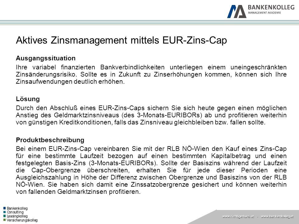 www.richtigerkurs. at www.richtigerkurs. at - www.bankenkolleg.at Aktives Zinsmanagement mittels EUR-Zins-Cap Ausgangssituation Ihre variabel finanzie