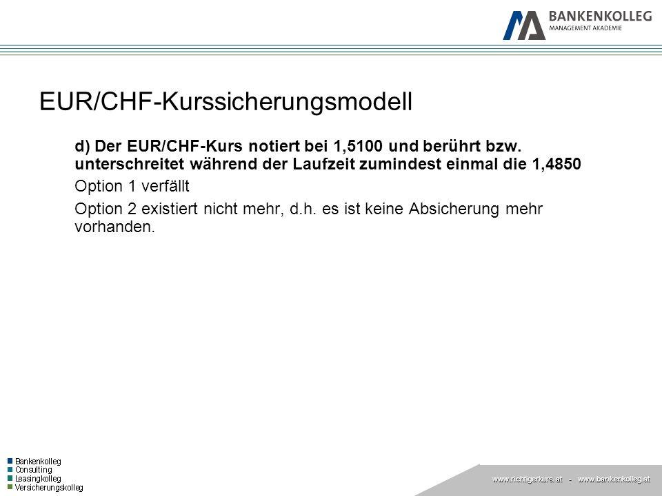 www.richtigerkurs. at www.richtigerkurs. at - www.bankenkolleg.at EUR/CHF-Kurssicherungsmodell d) Der EUR/CHF-Kurs notiert bei 1,5100 und berührt bzw.