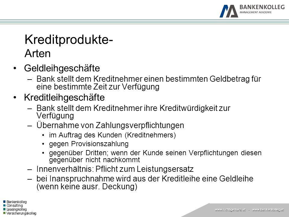 www.richtigerkurs. at www.richtigerkurs. at - www.bankenkolleg.at Kreditprodukte- Arten Geldleihgeschäfte –Bank stellt dem Kreditnehmer einen bestimmt