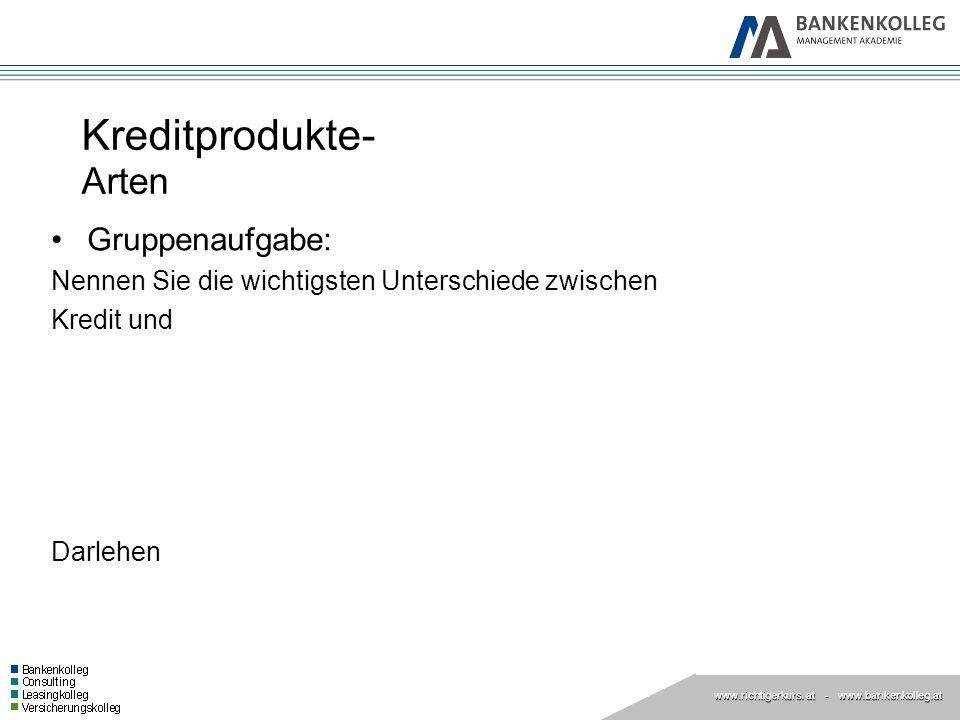 www.richtigerkurs. at www.richtigerkurs. at - www.bankenkolleg.at Kreditprodukte- Arten Gruppenaufgabe: Nennen Sie die wichtigsten Unterschiede zwisch