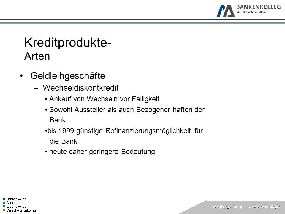 www.richtigerkurs. at www.richtigerkurs. at - www.bankenkolleg.at Kreditprodukte- Arten Geldleihgeschäfte –Wechseldiskontkredit Ankauf von Wechseln vo