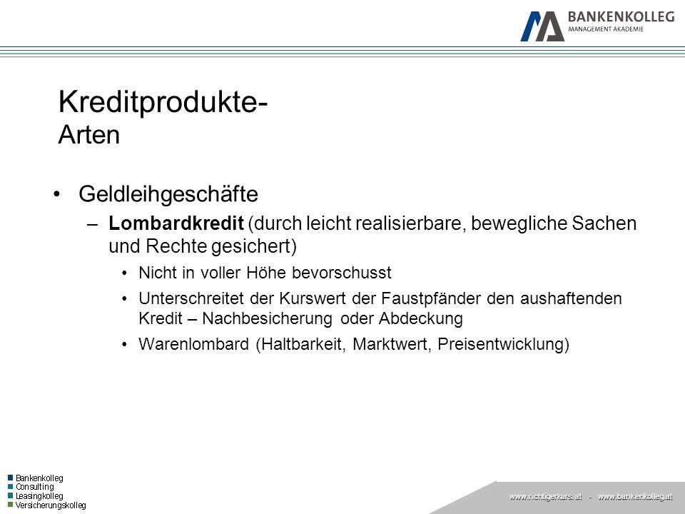 www.richtigerkurs. at www.richtigerkurs. at - www.bankenkolleg.at Kreditprodukte- Arten Geldleihgeschäfte –Lombardkredit (durch leicht realisierbare,