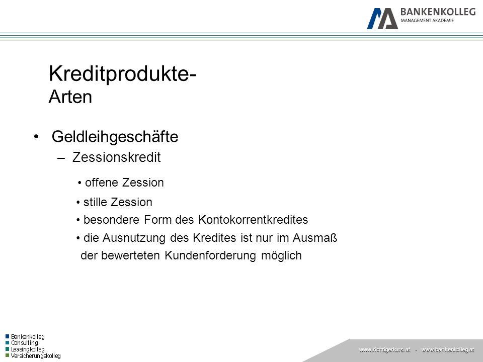 www.richtigerkurs. at www.richtigerkurs. at - www.bankenkolleg.at Kreditprodukte- Arten Geldleihgeschäfte –Zessionskredit offene Zession stille Zessio