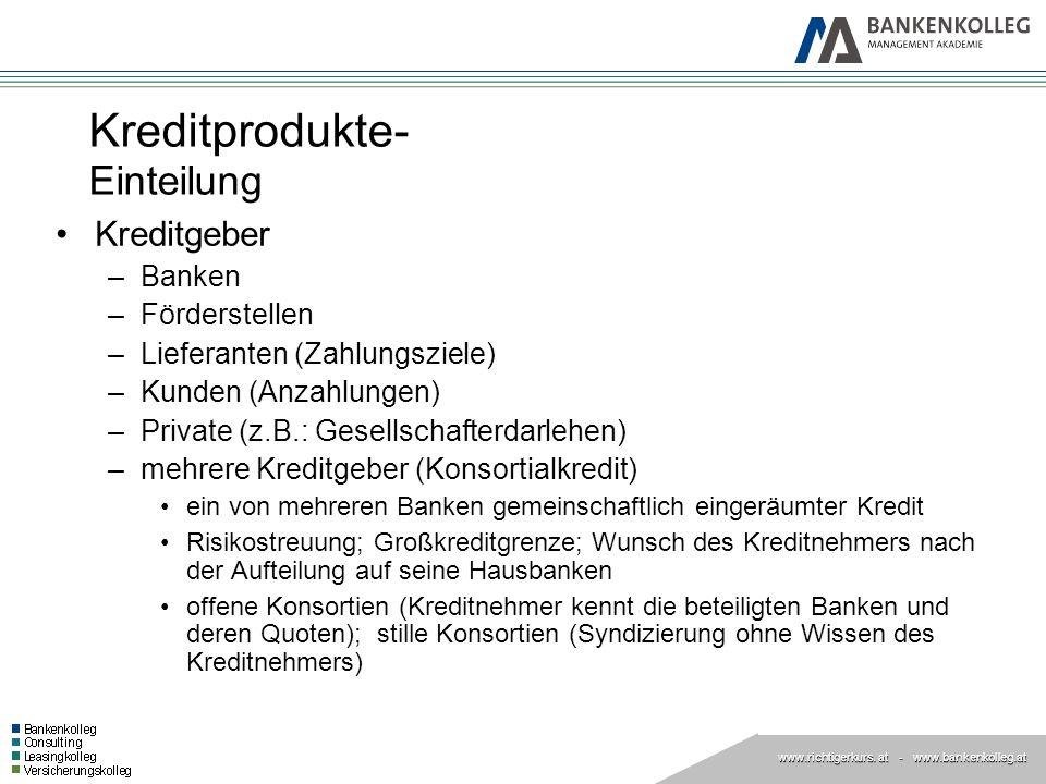 www.richtigerkurs.at www.richtigerkurs. at - www.bankenkolleg.at Kreditprodukte- Arten Darlehen.
