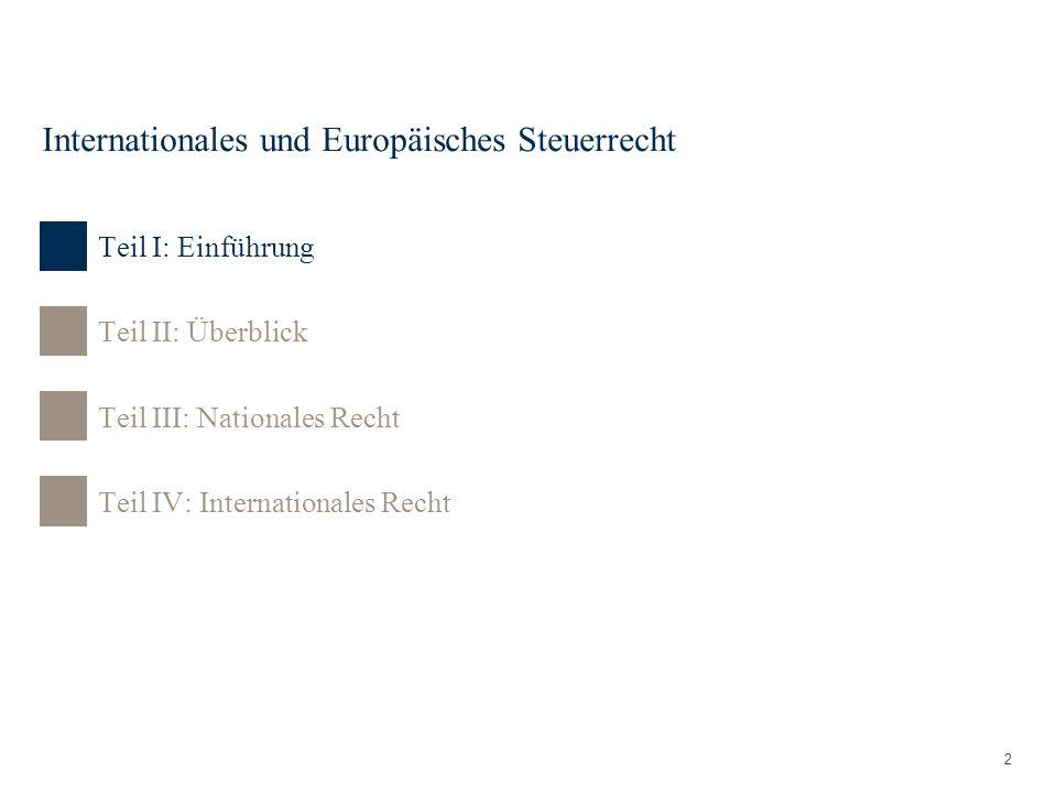 Internationales und Europäisches Steuerrecht 2 Teil II: Überblick Teil III: Nationales Recht Teil IV: Internationales Recht Teil I: Einführung