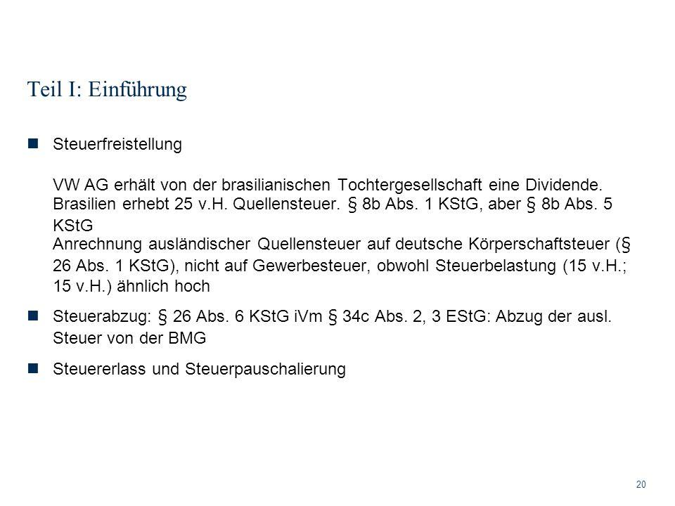 Teil I: Einführung 20 Steuerfreistellung VW AG erhält von der brasilianischen Tochtergesellschaft eine Dividende. Brasilien erhebt 25 v.H. Quellensteu