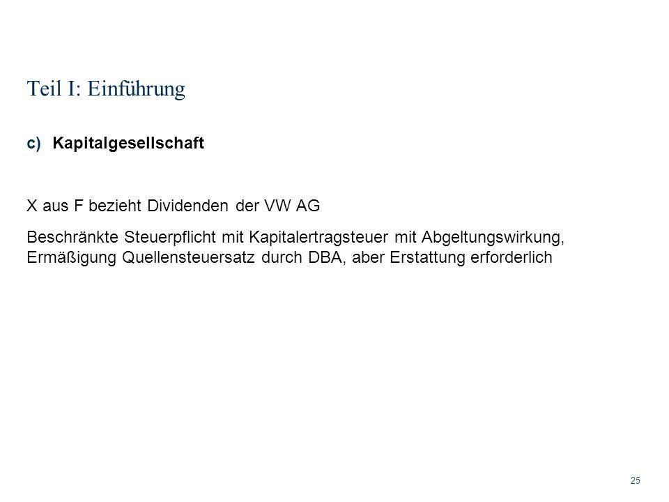 Teil I: Einführung 25 c)Kapitalgesellschaft X aus F bezieht Dividenden der VW AG Beschränkte Steuerpflicht mit Kapitalertragsteuer mit Abgeltungswirku