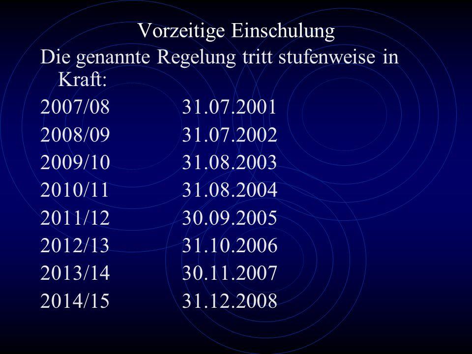 Vorzeitige Einschulung Die genannte Regelung tritt stufenweise in Kraft: 2007/0831.07.2001 2008/0931.07.2002 2009/1031.08.2003 2010/1131.08.2004 2011/