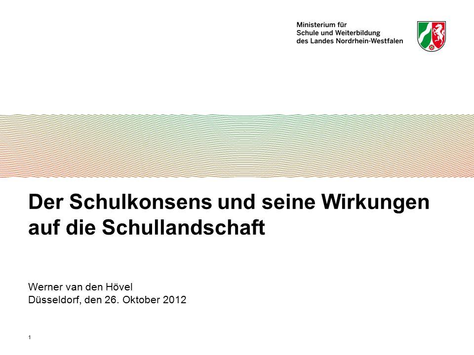 1 Der Schulkonsens und seine Wirkungen auf die Schullandschaft Werner van den Hövel Düsseldorf, den 26. Oktober 2012