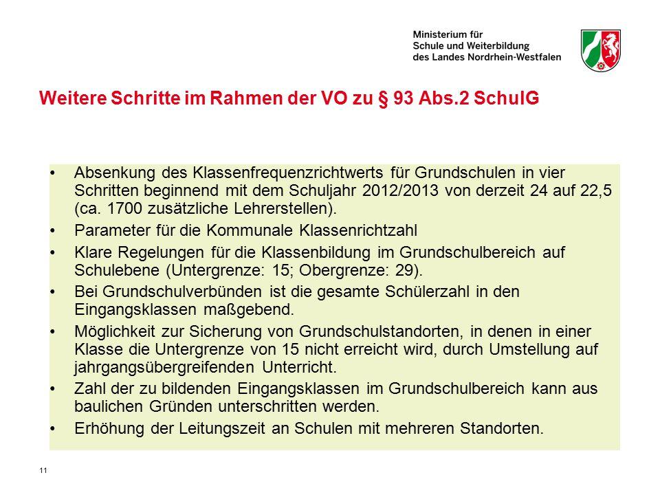 11 Weitere Schritte im Rahmen der VO zu § 93 Abs.2 SchulG Absenkung des Klassenfrequenzrichtwerts für Grundschulen in vier Schritten beginnend mit dem