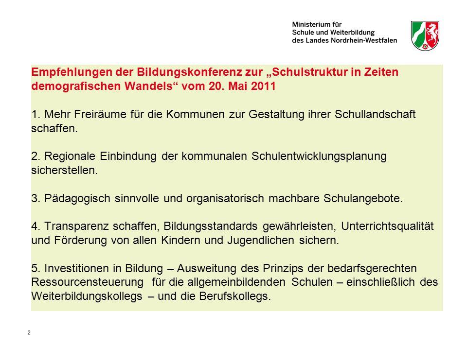 """2 Empfehlungen der Bildungskonferenz zur """"Schulstruktur in Zeiten demografischen Wandels"""" vom 20. Mai 2011 1. Mehr Freiräume für die Kommunen zur Gest"""