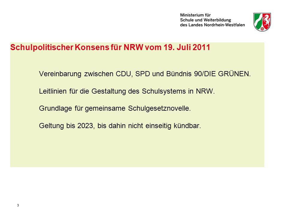 3 Schulpolitischer Konsens für NRW vom 19. Juli 2011 Vereinbarung zwischen CDU, SPD und Bündnis 90/DIE GRÜNEN. Leitlinien für die Gestaltung des Schul