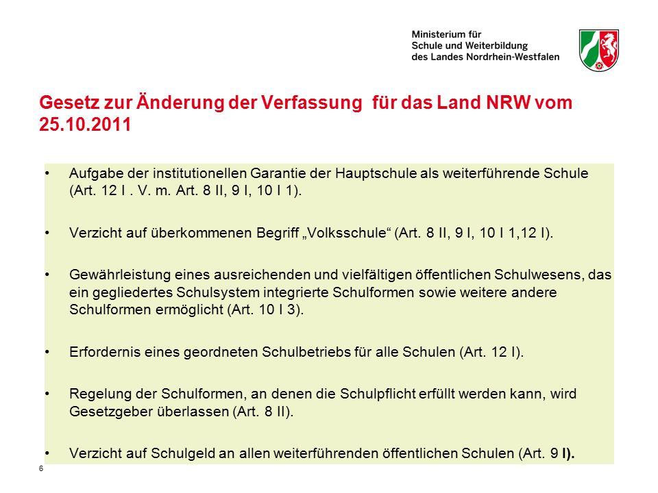6 Gesetz zur Änderung der Verfassung für das Land NRW vom 25.10.2011 Aufgabe der institutionellen Garantie der Hauptschule als weiterführende Schule (